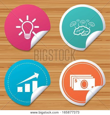 Round stickers or website banners. Chart with arrow, brainstorm icons. Cash money and lamp idea signs. Scheme and Diagram symbol. Circle badges with bended corner. Vector