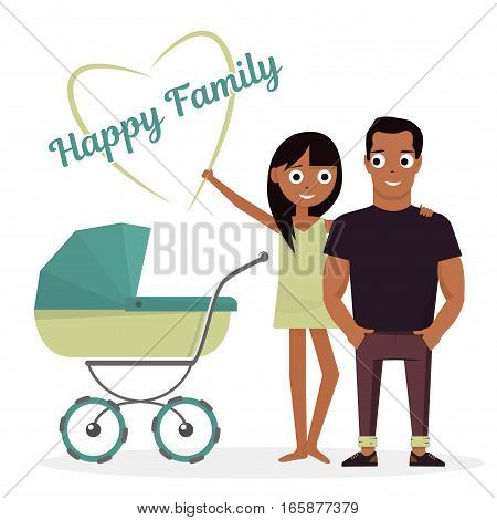 Mother and father with baby stroller. Isolated on white background of happy family newborn child.