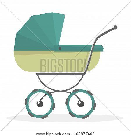 Baby stroller Isolated on white background. Pram illustrated.