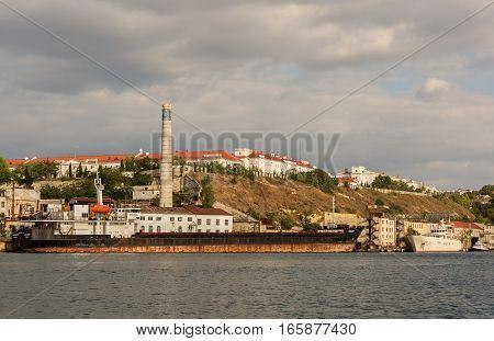 Sevastopol, Russia - June 09, 2016: Ship Orenburg in the Bay of Black Sea.