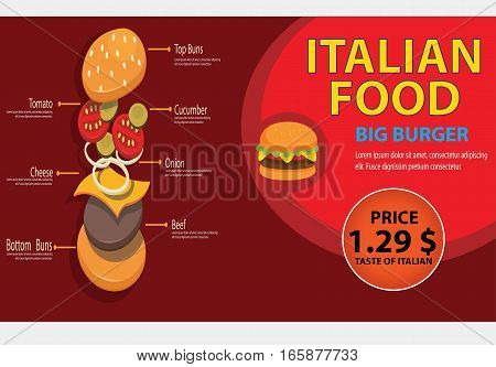 BURGER BANNER RED, This design is suitable for business cards