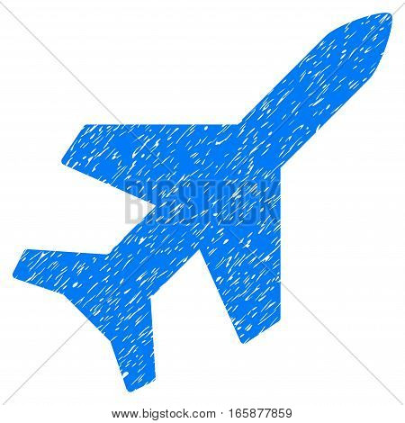 Aeroplane grainy textured icon for overlay watermark stamps. Flat symbol with dust texture. Dotted vector blue ink rubber seal stamp with grunge design on a white background.