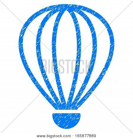 Aerostat grainy textured icon for overlay watermark stamps. Flat symbol with dirty texture. Dotted vector blue ink rubber seal stamp with grunge design on a white background.