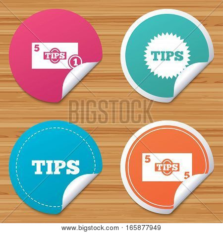 Round stickers or website banners. Tips icons. Cash with coin money symbol. Star sign. Circle badges with bended corner. Vector