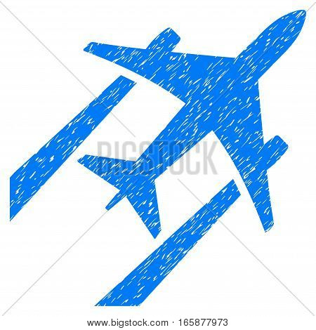 Air Jet Trace grainy textured icon for overlay watermark stamps. Flat symbol with dust texture. Dotted vector blue ink rubber seal stamp with grunge design on a white background.