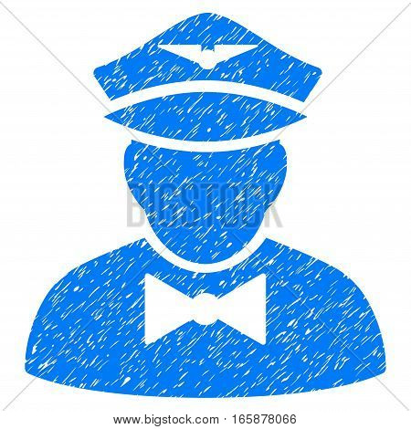 Airline Steward grainy textured icon for overlay watermark stamps. Flat symbol with dirty texture. Dotted vector blue ink rubber seal stamp with grunge design on a white background.