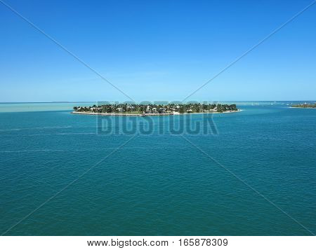 As island with homes in the atlantic ocean