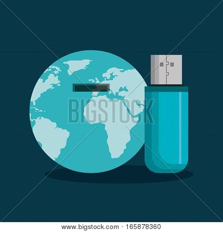 usb memory flash with world planet icon vector illustration design