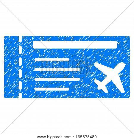 Airticket grainy textured icon for overlay watermark stamps. Flat symbol with unclean texture. Dotted vector blue ink rubber seal stamp with grunge design on a white background.