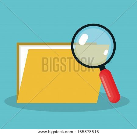 magnifying glass with folder isolated icon vector illustration design