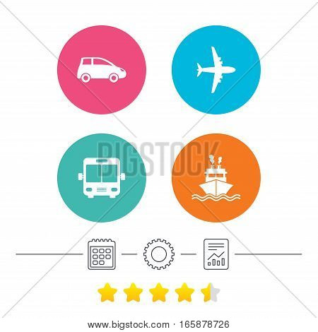 Transport icons. Car, Airplane, Public bus and Ship signs. Shipping delivery symbol. Air mail delivery sign. Calendar, cogwheel and report linear icons. Star vote ranking. Vector