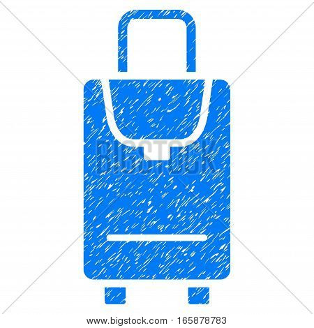 Carryon grainy textured icon for overlay watermark stamps. Flat symbol with scratched texture. Dotted vector blue ink rubber seal stamp with grunge design on a white background.