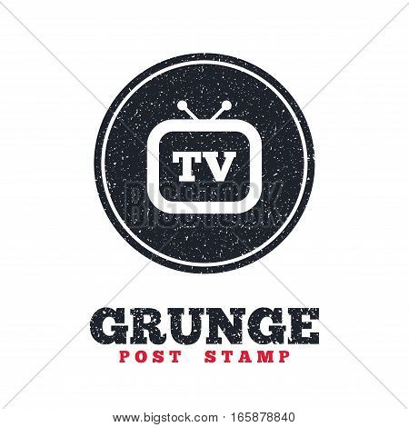 Grunge post stamp. Circle banner or label. Retro TV sign icon. Television set symbol. Dirty textured web button. Vector