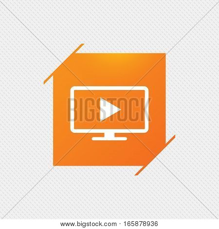 Widescreen TV mode sign icon. Television set symbol. Orange square label on pattern. Vector