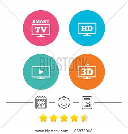 Smart TV mode icon. Widescreen symbol. High-definition resolution. 3D Television sign. Calendar, cogwheel and report linear icons. Star vote ranking. Vector