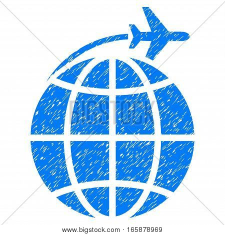 International Flight grainy textured icon for overlay watermark stamps. Flat symbol with unclean texture. Dotted vector blue ink rubber seal stamp with grunge design on a white background.