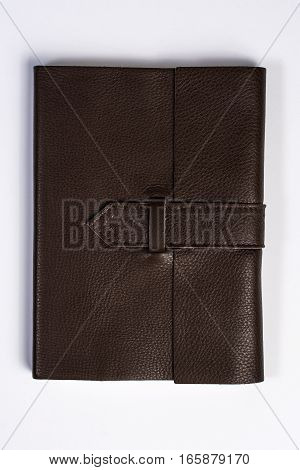 Bound Leather Journal Book Closed Isolated On White Top View