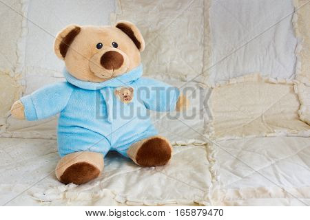 Cute Bear Stuffed Animal On A White Quilt