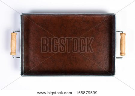 Galvanized Tin Box With Wooden Handles Isolated On White Top View