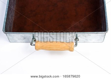 Galvanized Tin Box With Wooden Handles Isolated On White Handle Close Up