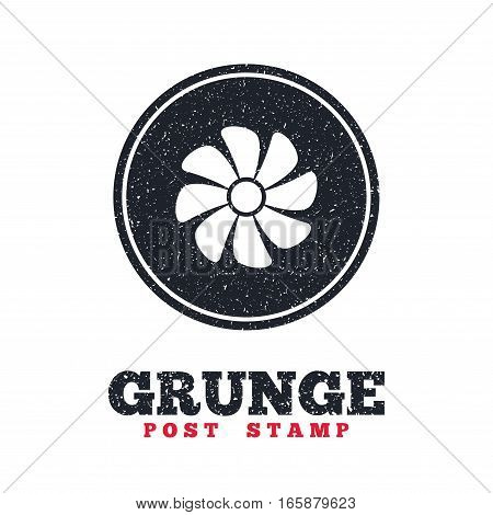 Grunge post stamp. Circle banner or label. Ventilation sign icon. Ventilator symbol. Dirty textured web button. Vector