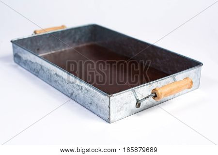 Galvanized Tin Box With Wooden Handles Isolated On White Perspective View