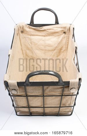 Metal Wire Basket Cloth Interior And Handles Front Angled View
