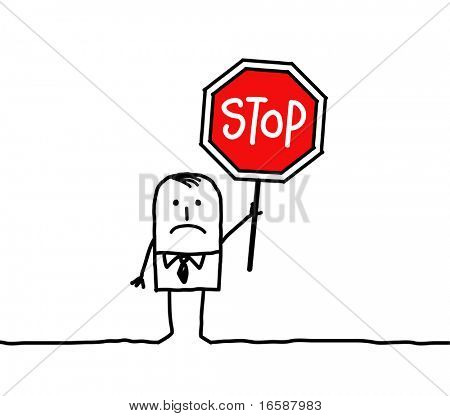 man and stop