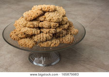 Pile Of Oatmeal Cookies On Dish Front View