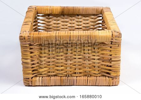 Square Wicker Basket Isolated On White Front Angled View
