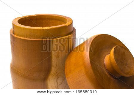 Wooden Jar With Lid Off Closeup Leaning On Front