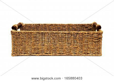 Woven rope basket with handles above side view