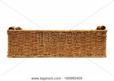 Woven rope basket with handles side view
