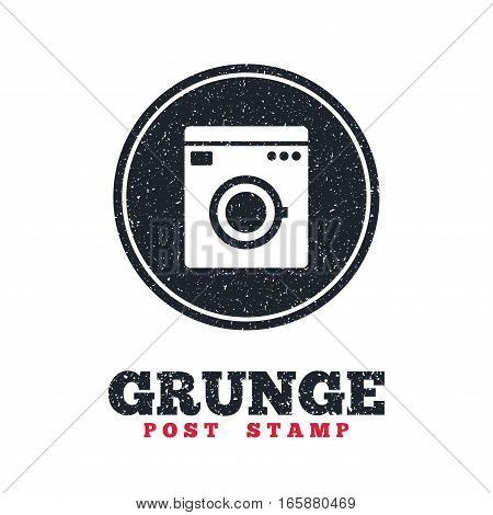 Grunge post stamp. Circle banner or label. Washing machine icon. Home appliances symbol. Dirty textured web button. Vector