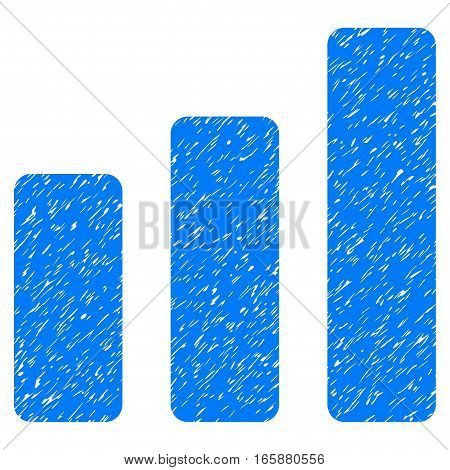 Bar Chart Increase grainy textured icon for overlay watermark stamps. Flat symbol with scratched texture. Dotted vector blue ink rubber seal stamp with grunge design on a white background.
