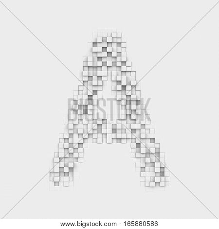 3d rendering of large letter A made up of white square uneven tiles on white background. Letters and numbers. Symbolism. Alphabet.