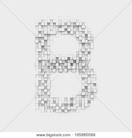 3d rendering of large letter B made up of white square uneven tiles on white background. Letters and numbers. Symbolism. Alphabet.