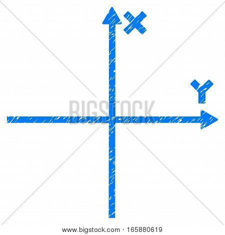 Cartesian Axes grainy textured icon for overlay watermark stamps. Flat symbol with scratched texture. Dotted vector blue ink rubber seal stamp with grunge design on a white background.