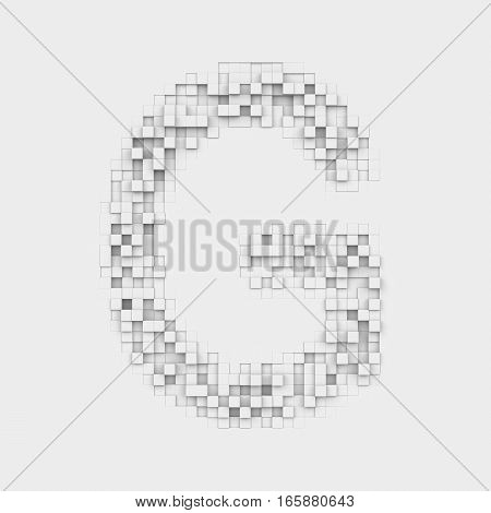 3d rendering of large letter G made up of white square uneven tiles on white background. Letters and numbers. Symbolism. Alphabet.