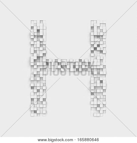 3d rendering of large letter H made up of white square uneven tiles on white background. Letters and numbers. Symbolism. Alphabet.
