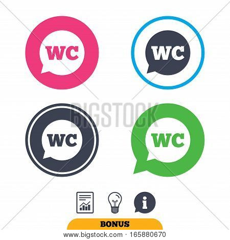 WC Toilet sign icon. Restroom or lavatory speech bubble symbol. Report document, information sign and light bulb icons. Vector
