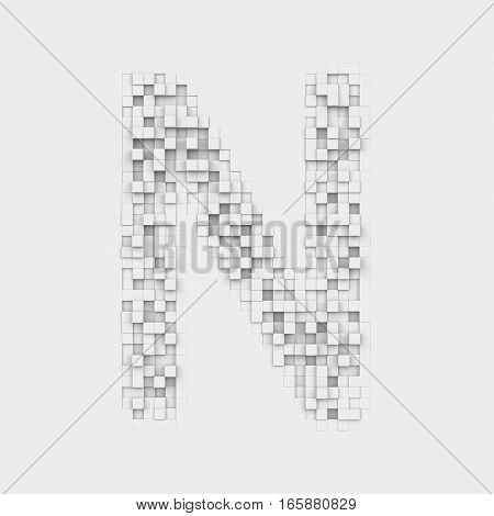 3d rendering of large letter N made up of white square uneven tiles on white background. Letters and numbers. Symbolism. Alphabet.