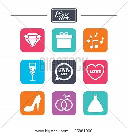 Wedding, engagement icons. Rings, gift box and brilliant signs. Dress, shoes and musical notes symbols. Colorful flat square buttons with icons. Vector