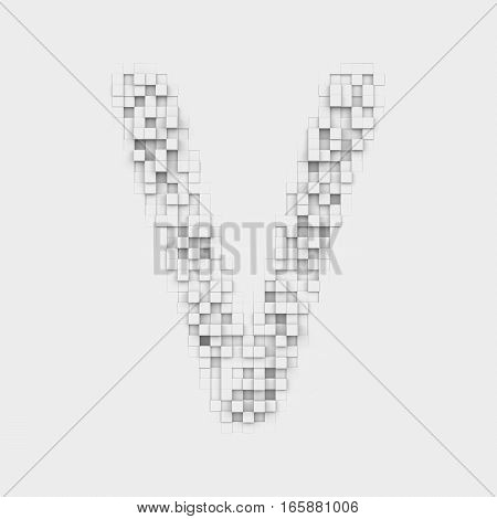 3d rendering of large letter V made up of white square uneven tiles on white background. Letters and numbers. Symbolism. Alphabet.