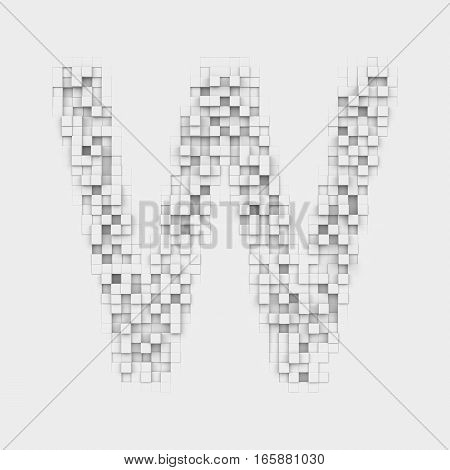 3d rendering of large letter W made up of white square uneven tiles on white background. Letters and numbers. Symbolism. Alphabet.
