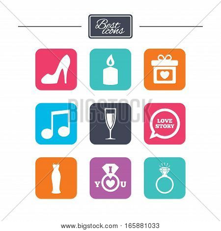 Wedding, engagement icons. Ring with diamond, gift box and music signs. Dress, shoes and champagne glass symbols. Colorful flat square buttons with icons. Vector