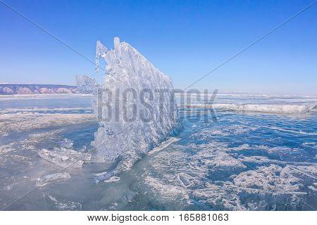 Blue Ice Of Lake Baikal, Olkhon Island