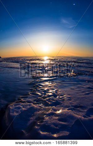 Textured Tile Blue Ice Hummock Of Lake Baikal At Moon Light. Olkhon Island