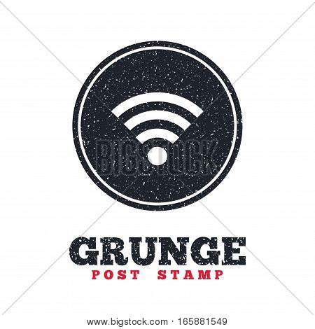 Grunge post stamp. Circle banner or label. Wifi sign. Wi-fi symbol. Wireless Network icon. Wifi zone. Dirty textured web button. Vector