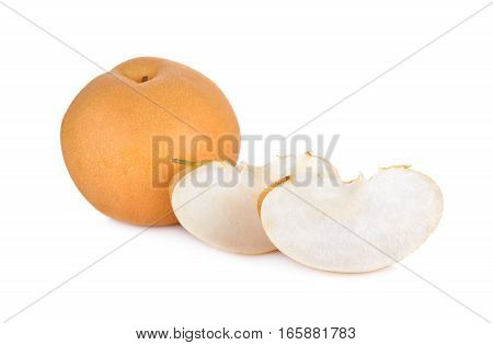 whole and portion cut snow pear or Fengsui pear on white background